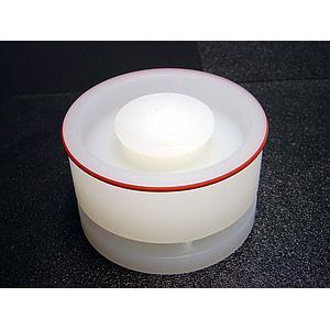 02.107.0308 - Couvercle gravitique en PP avec canaux de passage pour récipient en verre, en inox