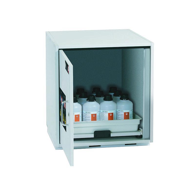 Armoire de sécurité sous paillasse (acides/bases) L590 x p570 x H600 mm - 1 étagère coulissante