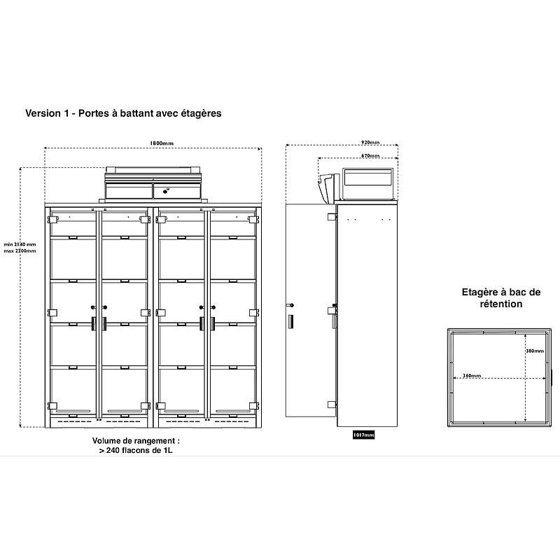 Armoire de sécurité ventilée, filtrée Captair 1634 Smart, équipement 1 - Erlab