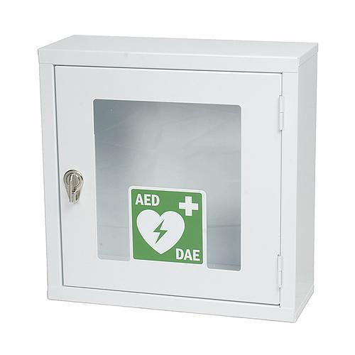 Armoire métallique blanche avec alarme pour défibrillateur