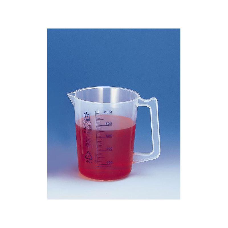 Bécher en PP avec poignée - 2000 ml - Lot de 6 - Brand