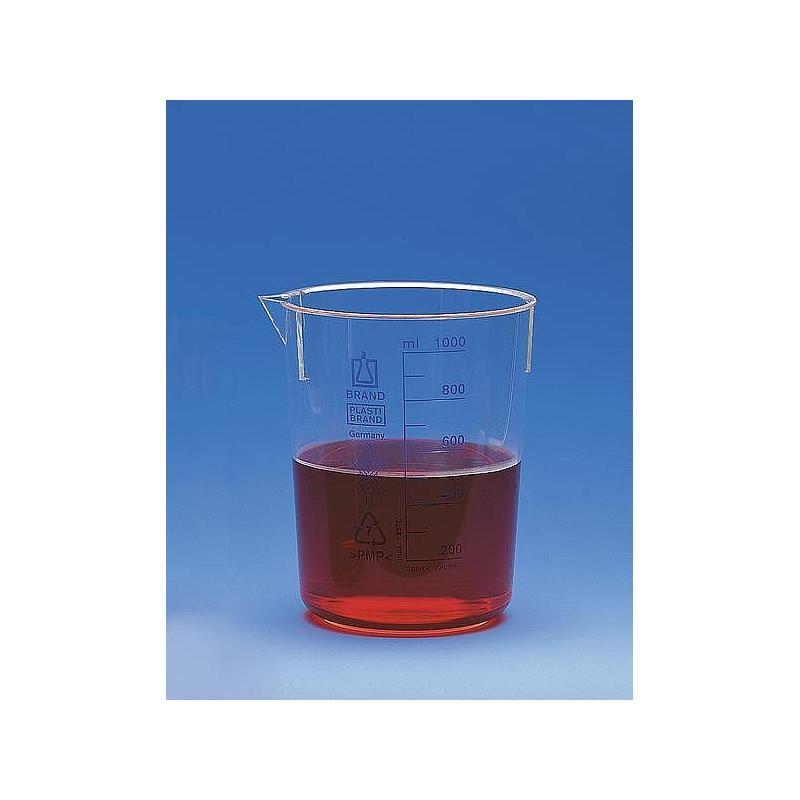 Bécher forme basse en plastique - 1000 ml - Lot de 6 - Brand