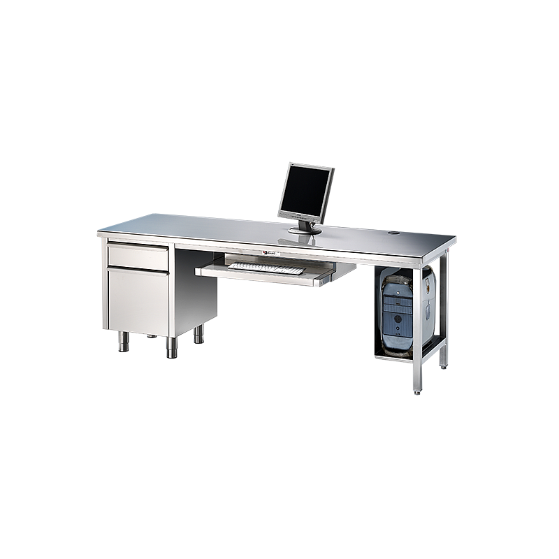 Bureau en inox avec meuble tiroir 2000 x 800 mm - Bano