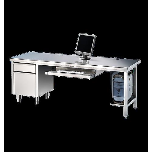 Bureau en inox avec meuble tiroir 2200 x 800 mm - Bano