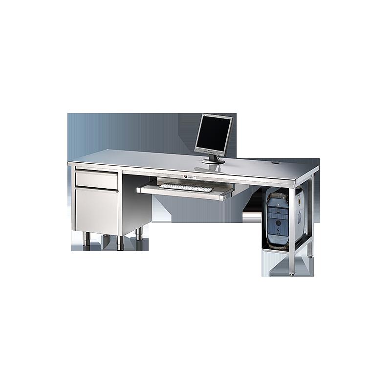 Bureau en inox avec meuble tiroir et dosseret 1800 x 800 mm - Bano
