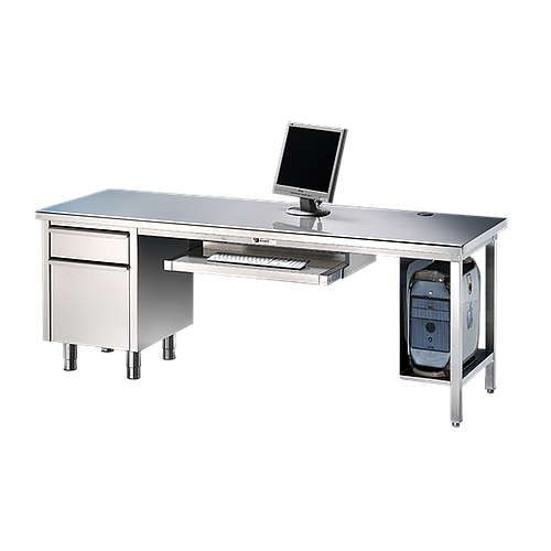 Bureau en inox avec meuble tiroir et dosseret 2200 x 800 mm - Bano