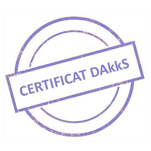 Certificat DAkkS pour jeu de poids étalon 1 mg - 5 g - Classe F1