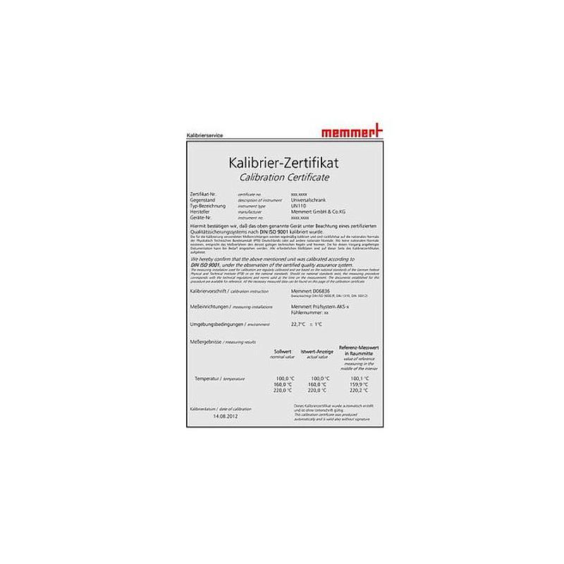 Certificat de calibrage d'usine en température - 3 valeurs - Memmert
