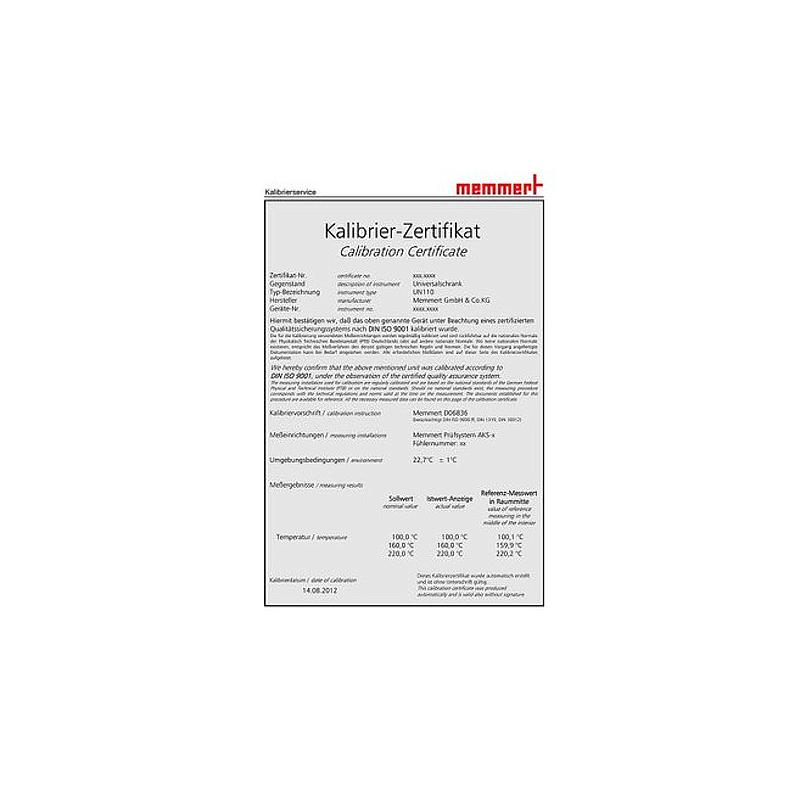 Certificat de calibrage d'usine pour une température et une humidité données - Pour enceintes CTC/TTC  - Memmert