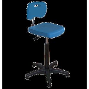 Chaise bleue haute polyuréthane confort à patins avec piétement polyamide - Kango