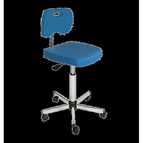 Chaise bleue haute polyuréthane confort avec roulettes - Kango