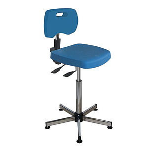 Chaise bleue polyuréthane confort asynchrone haute avec patins - Kango