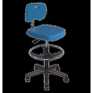 Chaise bleue polyuréthane confort avec repose-pieds et roulettes - Kango