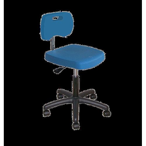 Chaise bleue polyuréthane confort avec roulettes - Kango