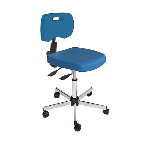 Chaise bleue professionnelle polyuréthane asynchrone à roulettes - Kango