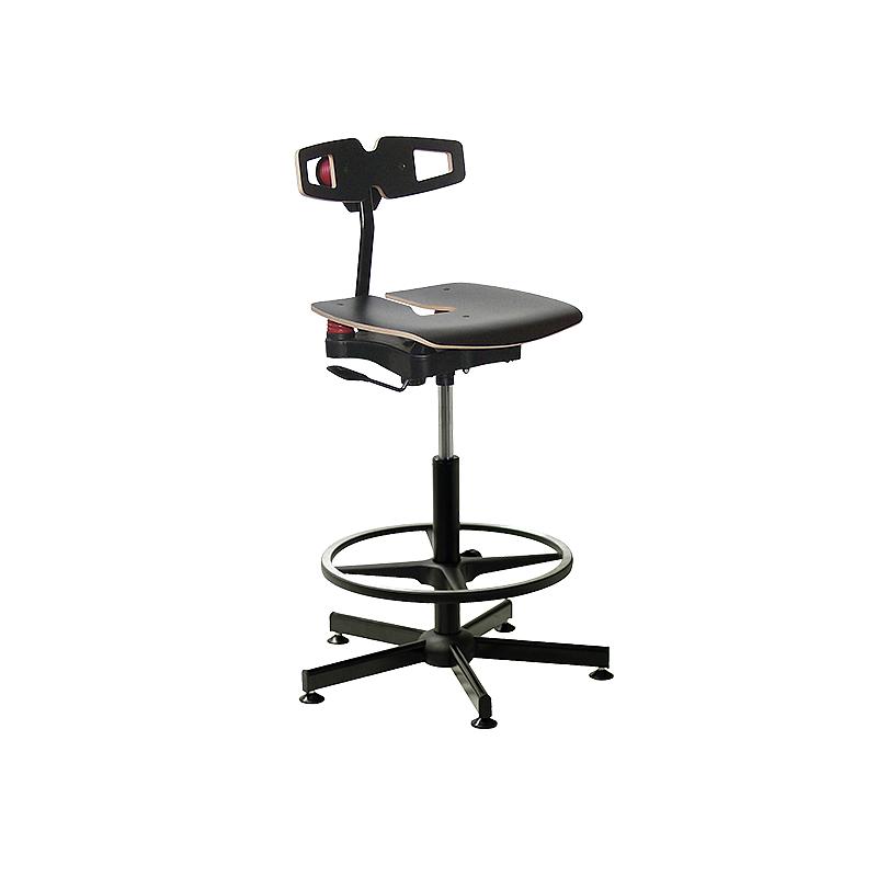 Chaise bois professionnelle Koncept noire avec repose-pieds - Kango