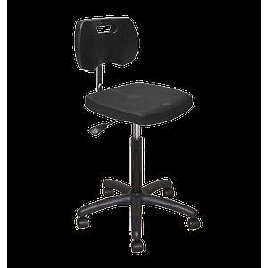Chaise noire haute polyuréthane confort à roulettes avec piétement polyamide - Kango