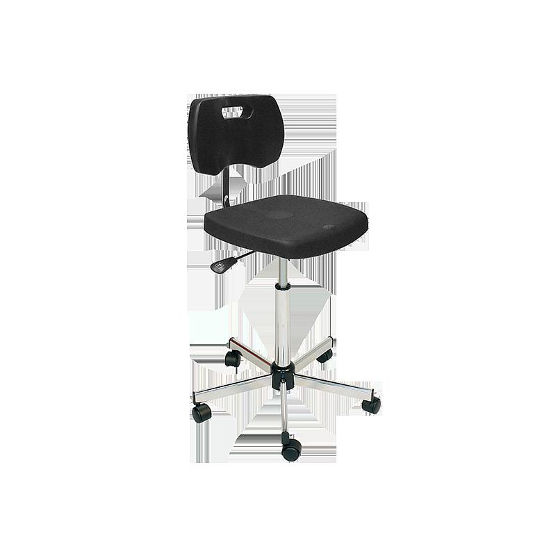 Chaise noire haute polyuréthane confort avec roulettes - Kango