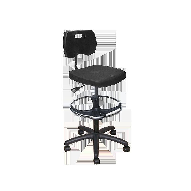 Chaise noire polyuréthane confort avec repose-pieds et roulettes - Kango