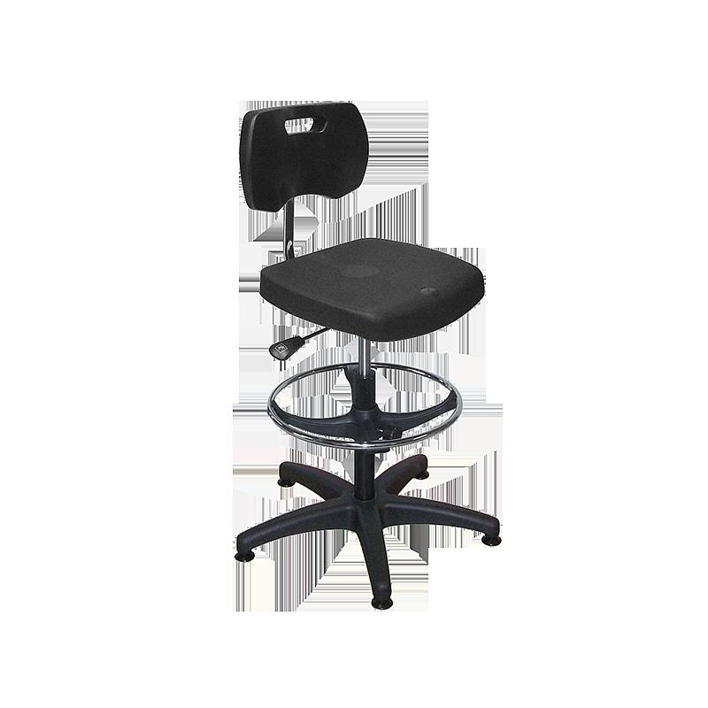 Chaise noire polyuréthane confort avec repose-pieds - Kango