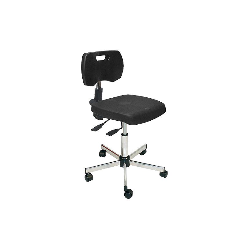 Chaise noire professionnelle polyuréthane asynchrone à roulettes - Kango