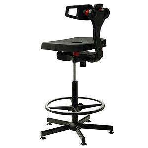 Chaise polyuréthane noire Koncept avec repose-pieds - Kango