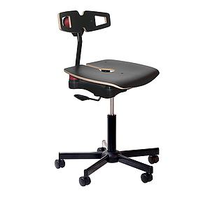 Chaise professionnelle noire Koncept Bois à roulettes - Kango