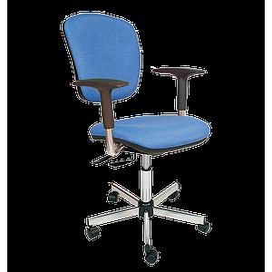 Chaise vinyle bleu asynchrone avec accoudoirs et roulettes - Kango