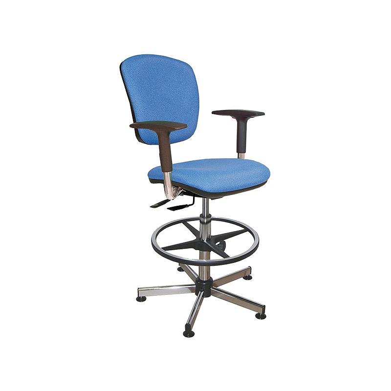 Chaise vinyle bleu asynchrone avec repose-pieds et accoudoirs - Kango