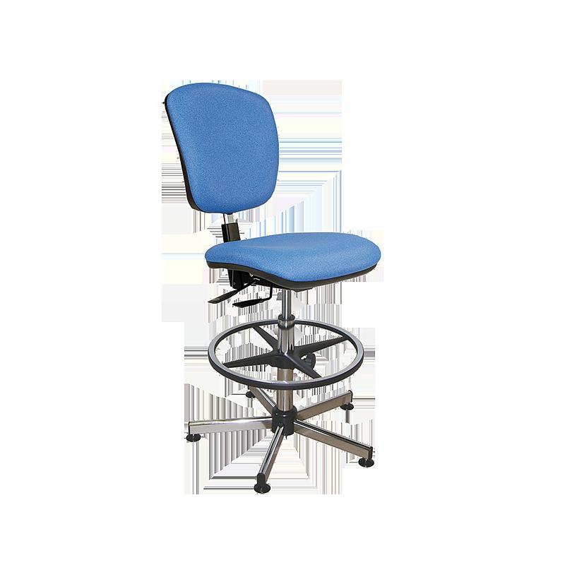 Chaise vinyle bleu asynchrone avec repose-pieds - Kango
