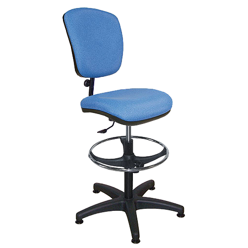Chaise vinyle bleu - repose-pieds chromé - Kango