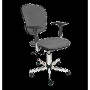Chaise vinyle gris asynchrone avec accoudoirs et roulettes - Kango