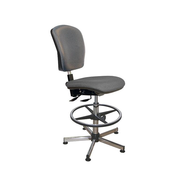 Chaise vinyle gris asynchrone avec repose-pieds - Kango