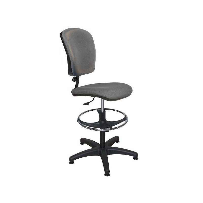 Chaise vinyle gris - repose-pieds chromé - Kango