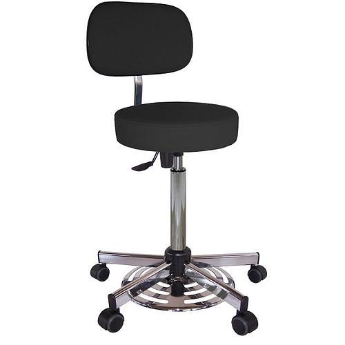 Chaise vinyle noir à roulettes - Kango