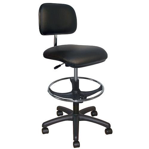 Chaise vinyle noire à roulettes - Kango