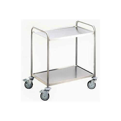 Chariot de laboratoire inox - 2 étagères