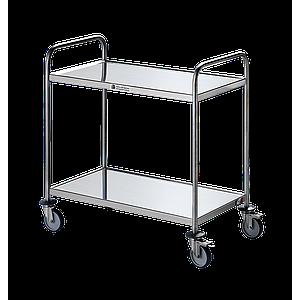 Chariot inox 2 plateaux avec roues antitraces - Bano