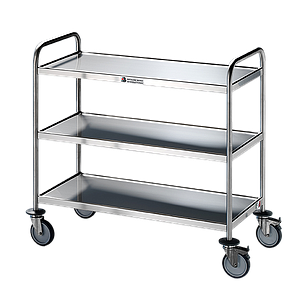 Chariot inox 3 plateaux avec roues antitraces - Bano