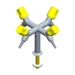 Colonne en X avec déclic de sécurité poignées et embouts 45°