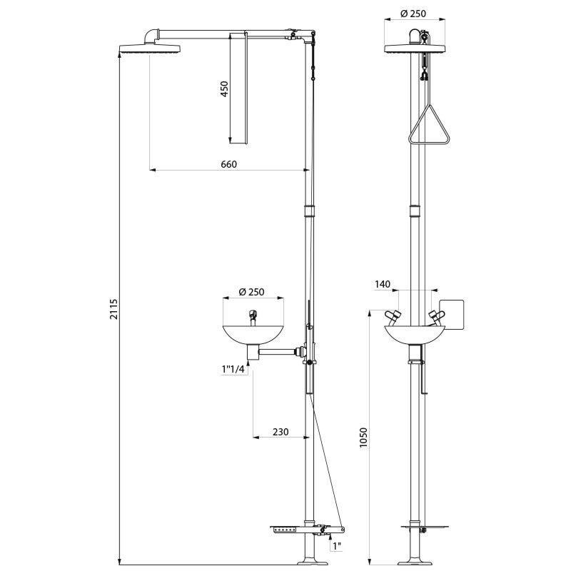 Combiné douche et lave-œil de sécurité sur colonne
