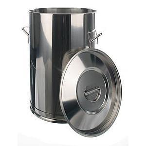 Conteneur inox à poignées avec couvercle - 50 litres
