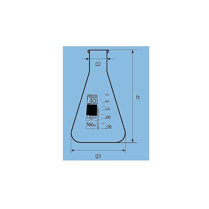 Fiole Erlenmeyer col étroit - 1000 ml - TGI