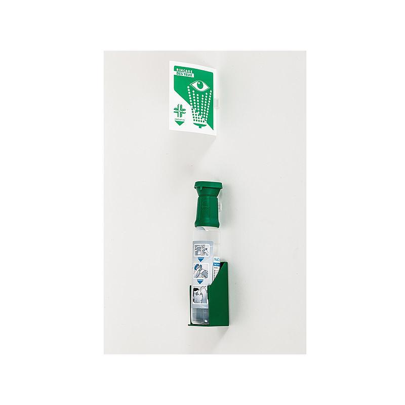 Flacon 250 ml de sérum physiologique stérile avec support mural et signalétique lave-oeil