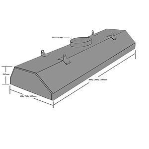 Hotte centrale blanche en PVC, L1200 x p900 x H350 mm