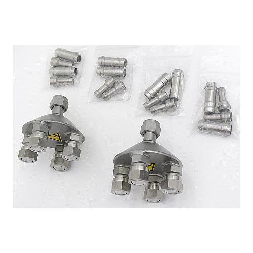 JUL-8970520 - Répartiteur en 4 (2 pièces), M16 x 1, avec connexion pour tuyau 8 mm ou 12 mm ou 1/2