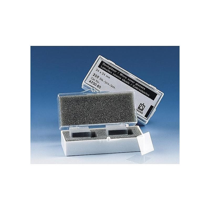 Lamelle couvre-objet pour lame porte-objet - 18 x 18 mm - Boite de 200