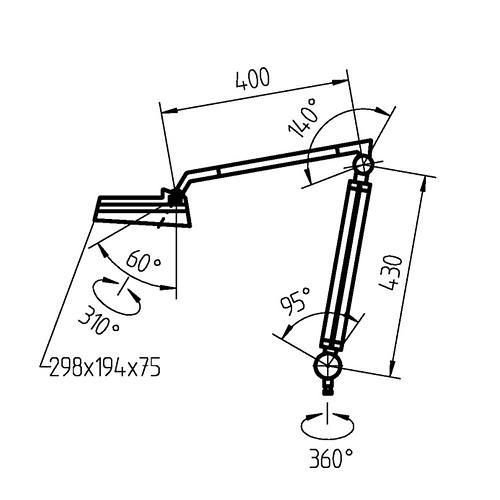 Lampe à loupe avec bras articulé SNLQ - LED - Waldmann