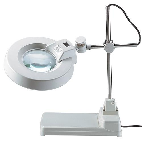 Lampe-loupe sur statif en acier