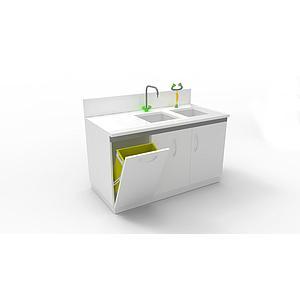 Laverie sur meuble fixe 2 portes, L1200 x p750 x H900 mm